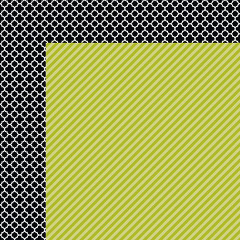 Bella Blvd. - Color Chaos Pickle Juice Strandz 12x12 Scrapbook Paper (Green/Black&White)