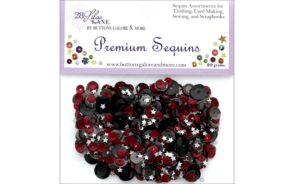 28 Lilac Lane - Pirates Sequins - 20 grams (red, black, white stars)