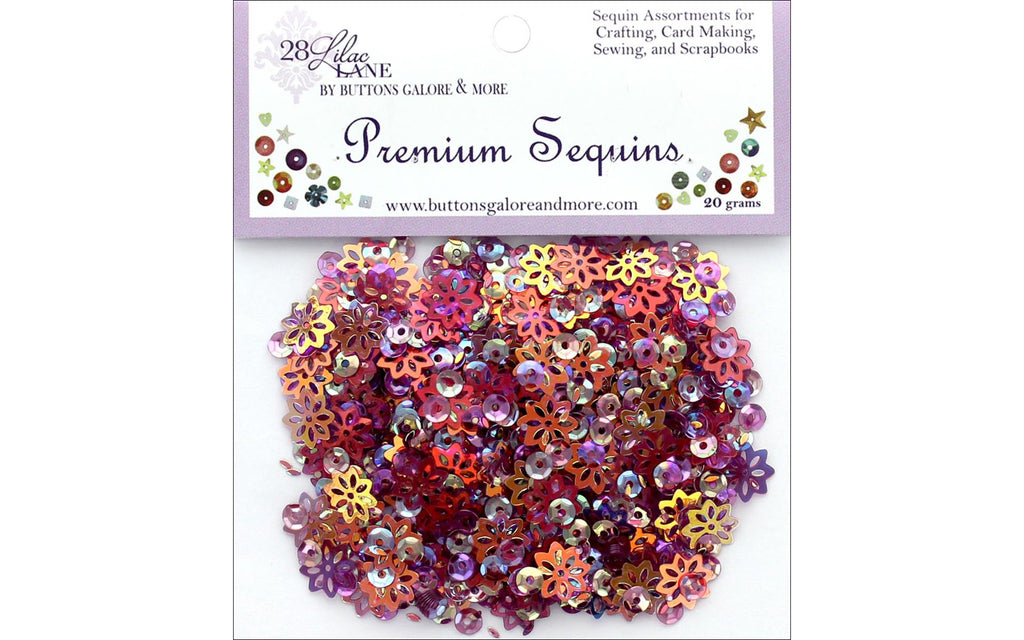 28 Lilac Lane - Plum Sequins - 20 grams (purple, pink, flowers)