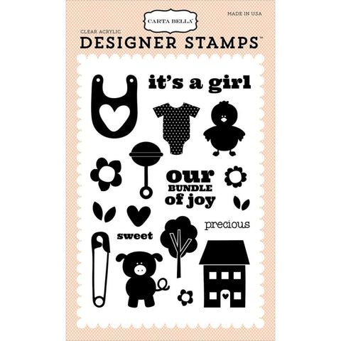 Carta Bella - Precious Girl Acrylic Stamp Set (It's a Girl Collection)