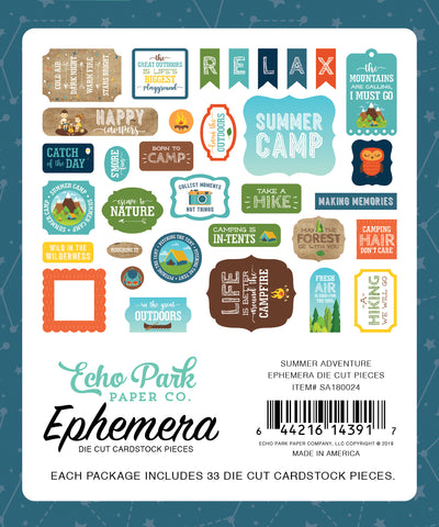 Echo Park - Summer Adventure Ephemera Die Cuts (Camping, Fishing, Hiking)