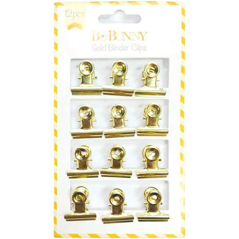 Bo Bunny - Gold Binder Clips, 12 pieces