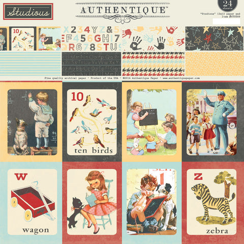 Authentique - Studious 6x6 Paper Pad (School, ABC, Children, Vintage)