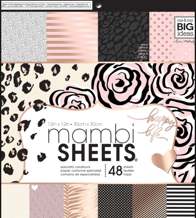 MAMBI Sheets - Black White Rose 12x12 Paper Pad, 48 sheets