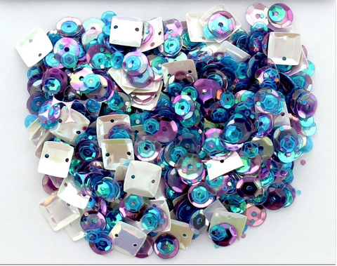 28 Lilac Lane - Gemstone Sequins (1 Tbsp.) - (White square, purple, blue)