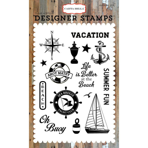 Carta Bella - Sea Breeze Acrylic Stamp Set (Yacht Club Collection,Vacation, Cruise)