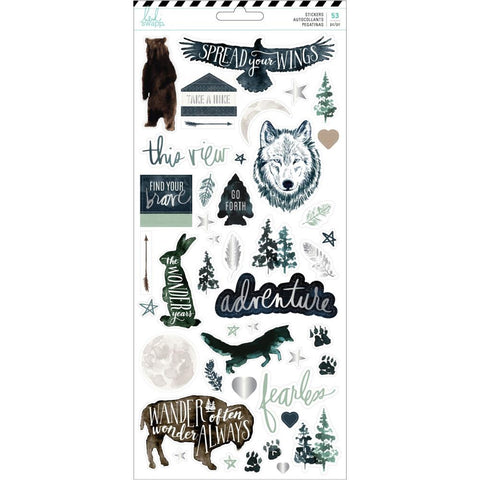 Heidi Swapp - Wolf Pack Cardstock Stickers with Foil Accents 44/Pkg