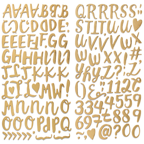 American Crafts - Thickers - CRUSH Gold Chipboard Alphabet 144 pieces