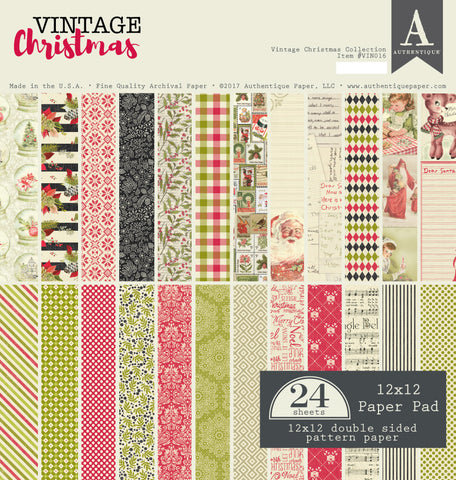 Authentique - Vintage Christmas 12x12 Double-Sided Paper Pad, Holiday