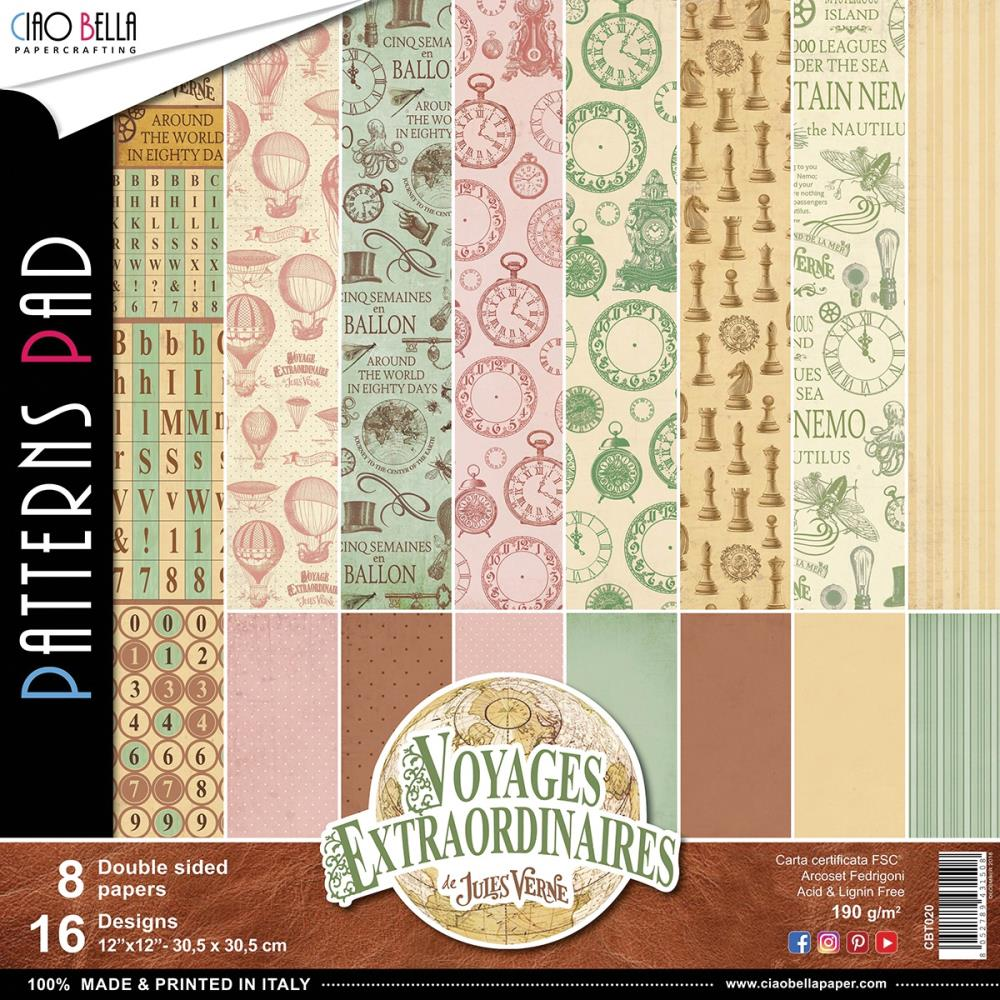 "Ciao Bella - Voyages Extraordinaires Dbl-Sided Paper 90lb 12""X12"" 8/Pkg"