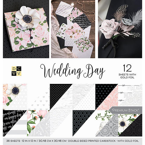 DCWV - WEDDING DAY 12x12 Scrapbook Premium Stack Paper Pad