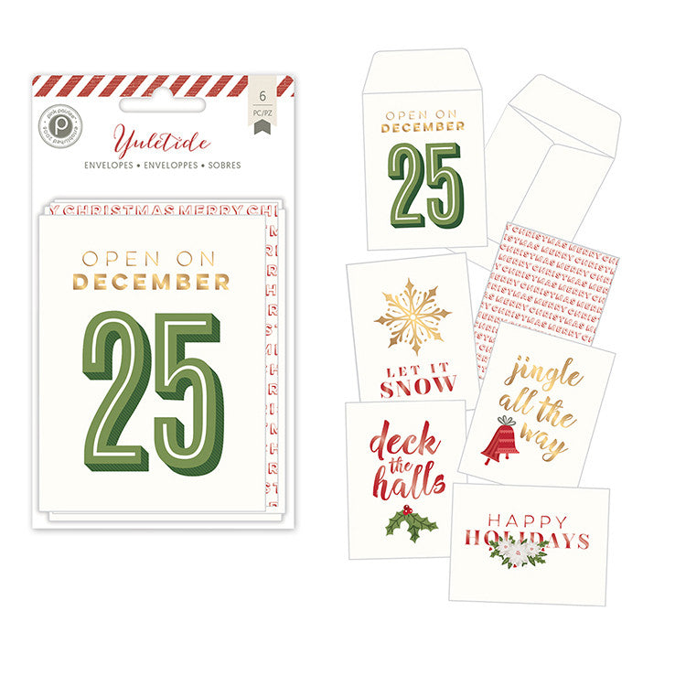 Pink Paislee - Yuletide Envelopes, 6 pieces