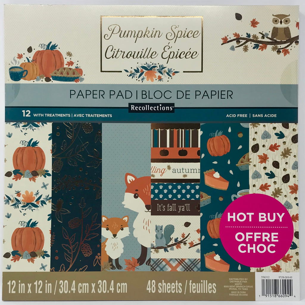 Craft Smith - Pumpkin Spice 12x12 Decorative AND Solids Paper Pads (Fall)