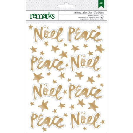 American Crafts - Remarks Gold Foil Stickers, Noel, Peace, Stars 42 stickers