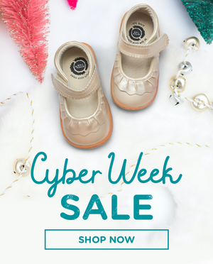 Cyber Week Sale with gold ruched shoes for children