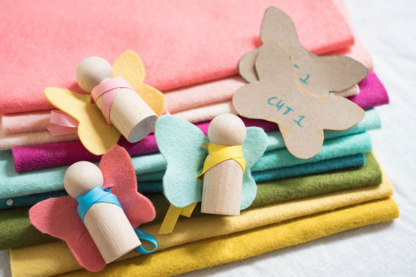 Felt crafts, felt fairy Peg dolls