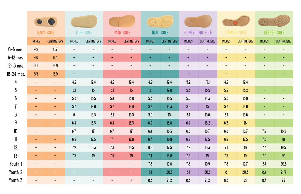 Kids Shoe Chart Convert Inches Centimeters Sizes
