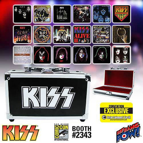KISS Album Cover Coaster Set in Miniature Guitar Case