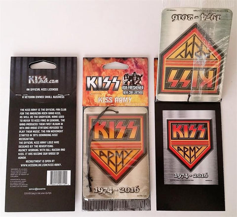 "KISS Army Shield ""new car leather"" scent air freshener"