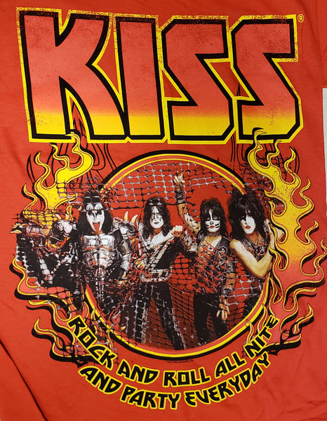 KISS Flames German Rock and Roll All Nite T-Shirt