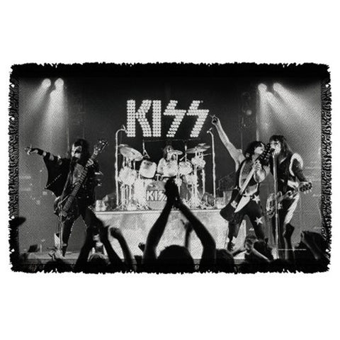 "KISS Staged Woven Tapestry Throw Blanket 48"" X 80"""
