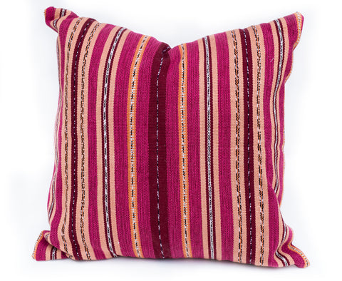 Red & Stripe Handwoven Pillow