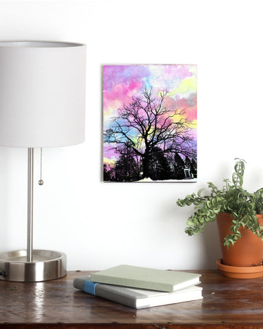 Pastel Tree Watercolor Metal Print