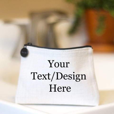 Custom Personalized Linen Small Cosmetic Bag