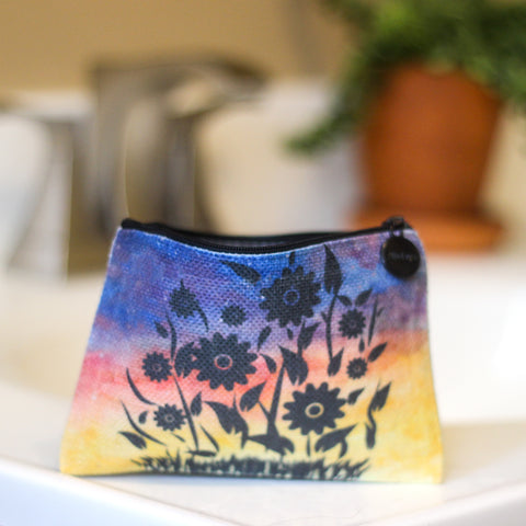 Floral Linen Small Cosmetic Bag