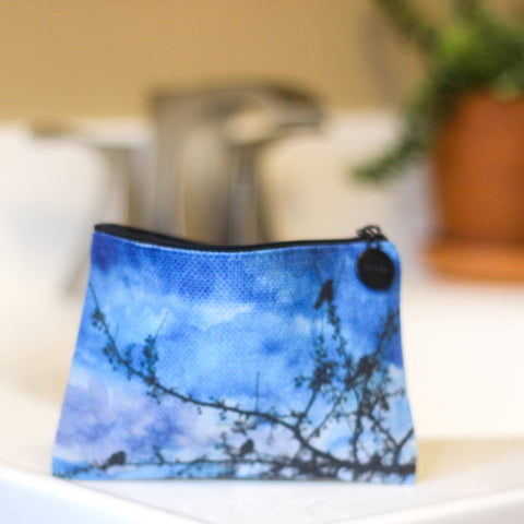 Blue Bird Linen Small Cosmetic Bag