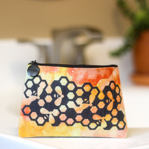 Honey Bee Linen Small Cosmetic Bag