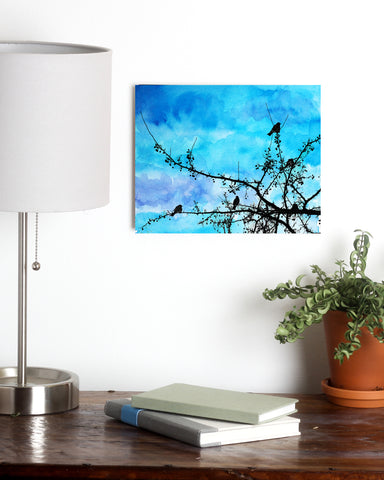 Birds and Blue Watercolor Metal Print