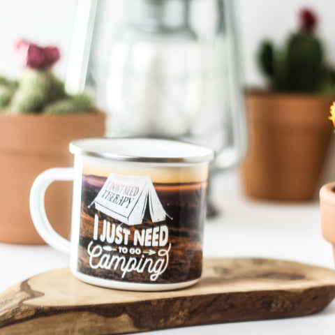 I Don't Need Therapy I Just Need To Go Camping Metal Camp Mug
