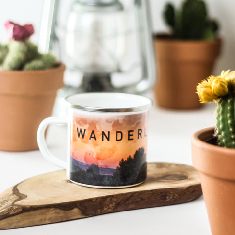 Wanderlust Metal Camp Mug