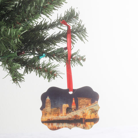 Cleveland Skyline Wood Ornament