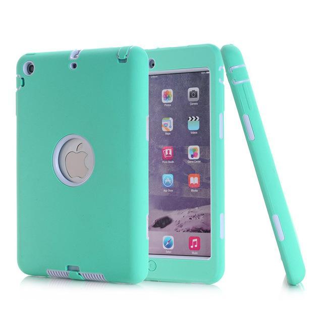 Smile IT SC aqua white HOT!For iPad mini 1/2/3 Retina Kids Safe Armor Shockproof Heavy Duty Silicone Hard Case Cover free Screen protector film+stylus