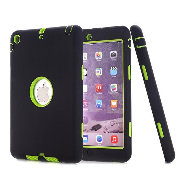 Smile IT SC black green HOT!For iPad mini 1/2/3 Retina Kids Safe Armor Shockproof Heavy Duty Silicone Hard Case Cover free Screen protector film+stylus
