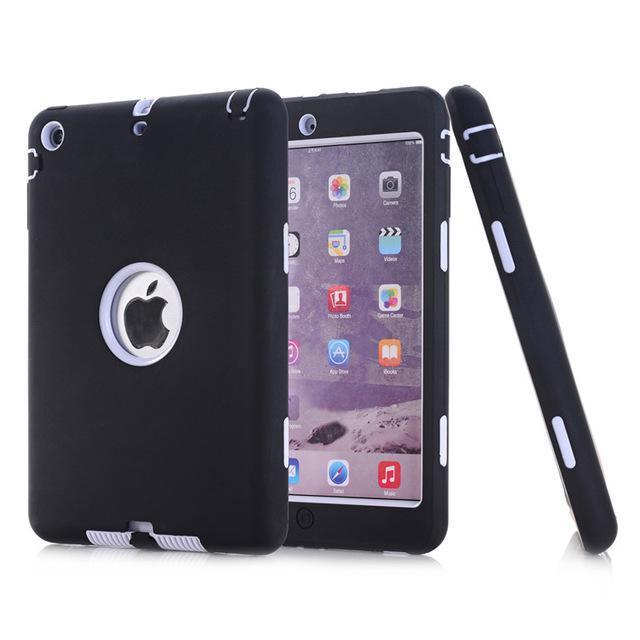 Smile IT SC black white HOT!For iPad mini 1/2/3 Retina Kids Safe Armor Shockproof Heavy Duty Silicone Hard Case Cover free Screen protector film+stylus