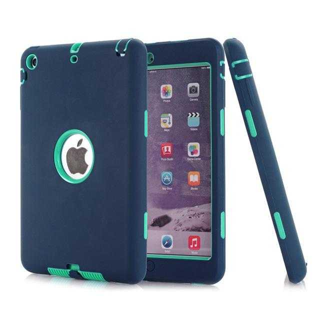 Smile IT SC Cymbidium aqua HOT!For iPad mini 1/2/3 Retina Kids Safe Armor Shockproof Heavy Duty Silicone Hard Case Cover free Screen protector film+stylus