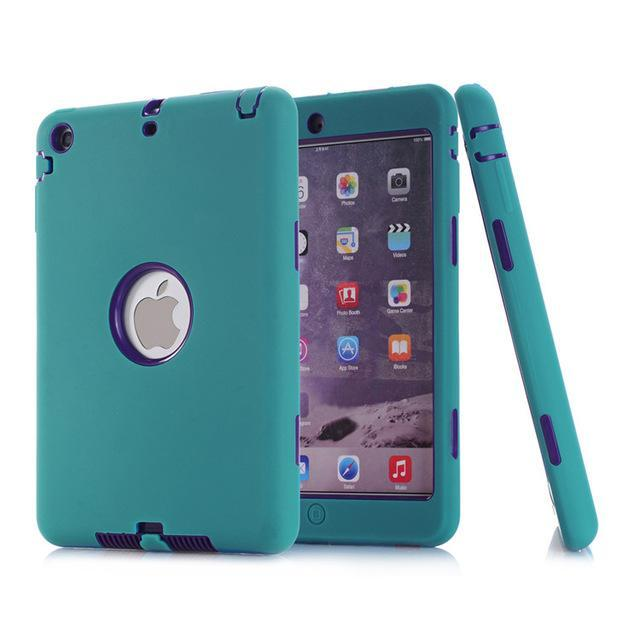 Smile IT SC Dark green purple HOT!For iPad mini 1/2/3 Retina Kids Safe Armor Shockproof Heavy Duty Silicone Hard Case Cover free Screen protector film+stylus