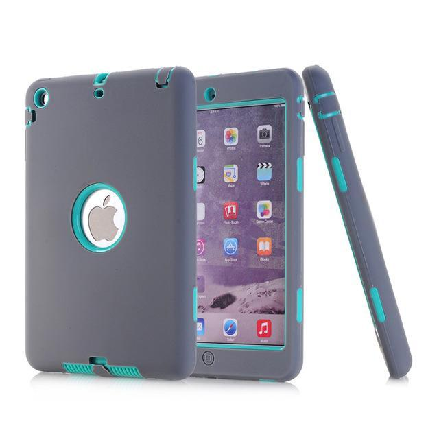 Smile IT SC gray aqua HOT!For iPad mini 1/2/3 Retina Kids Safe Armor Shockproof Heavy Duty Silicone Hard Case Cover free Screen protector film+stylus