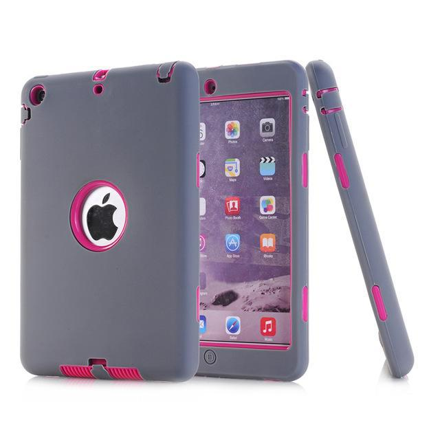 Smile IT SC gray rose HOT!For iPad mini 1/2/3 Retina Kids Safe Armor Shockproof Heavy Duty Silicone Hard Case Cover free Screen protector film+stylus