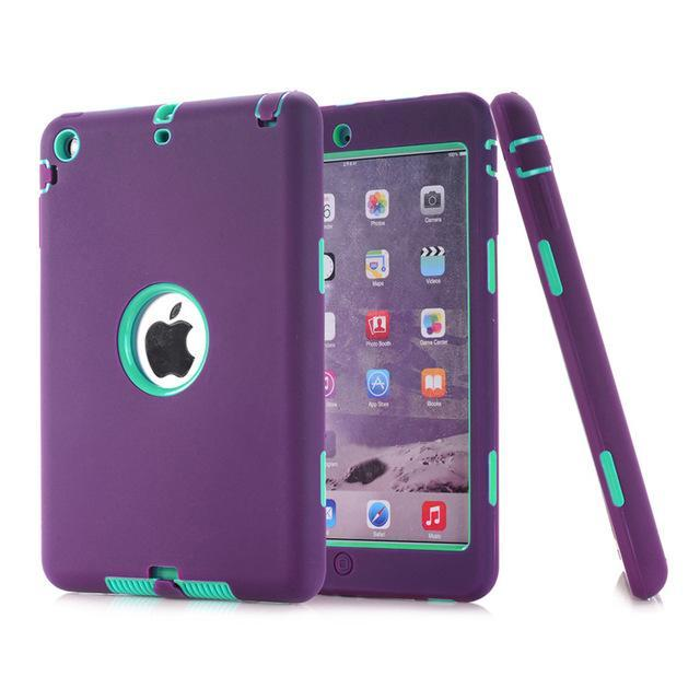 Smile IT SC purple aqua HOT!For iPad mini 1/2/3 Retina Kids Safe Armor Shockproof Heavy Duty Silicone Hard Case Cover free Screen protector film+stylus