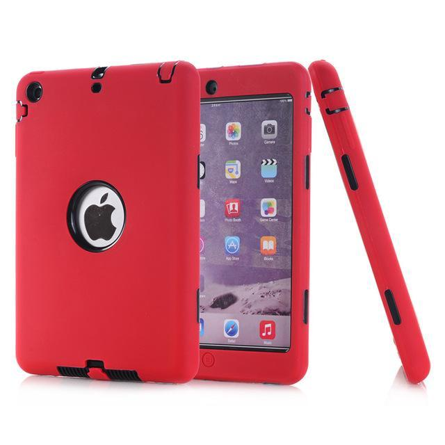 Smile IT SC red black HOT!For iPad mini 1/2/3 Retina Kids Safe Armor Shockproof Heavy Duty Silicone Hard Case Cover free Screen protector film+stylus