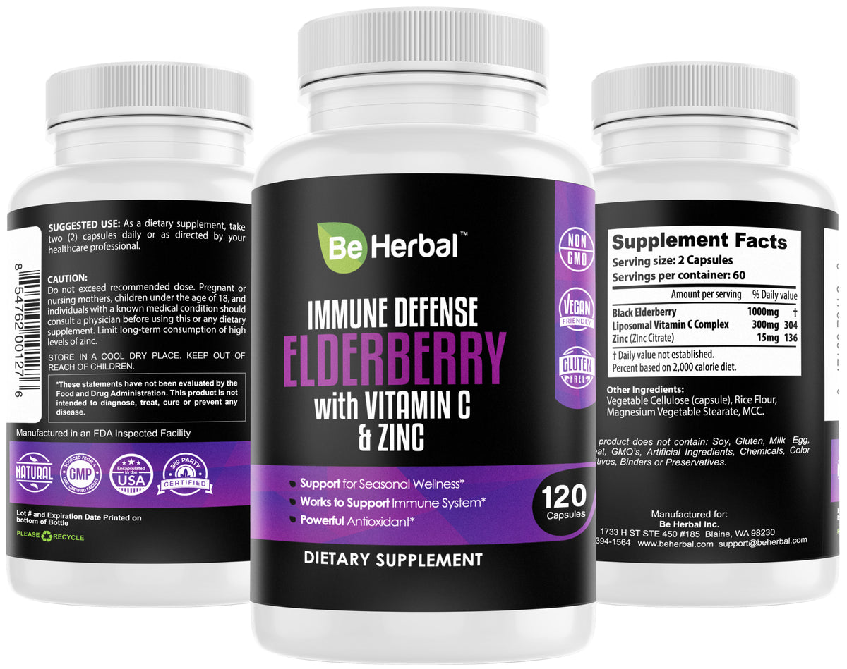 Elderberry Capsules with Zinc and  Liposomal Vitamin C - 120 Capsules
