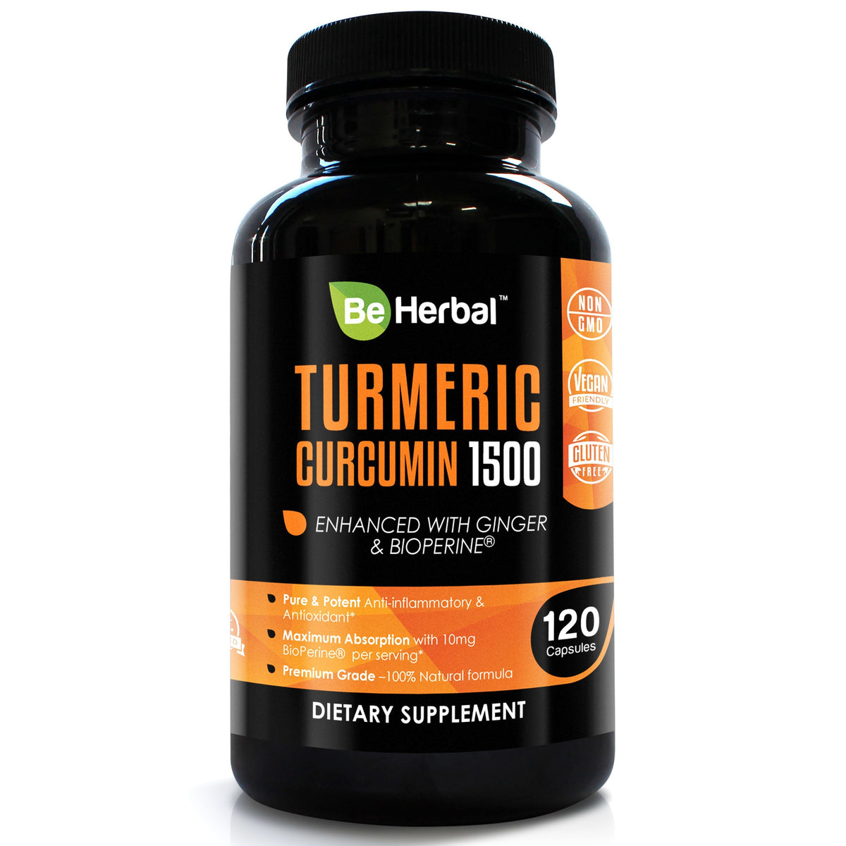 Premium Organic Turmeric Curcumin with BioPerine - 1500mg - 120 Veg Capsules Herbal Supplements Be Herbal