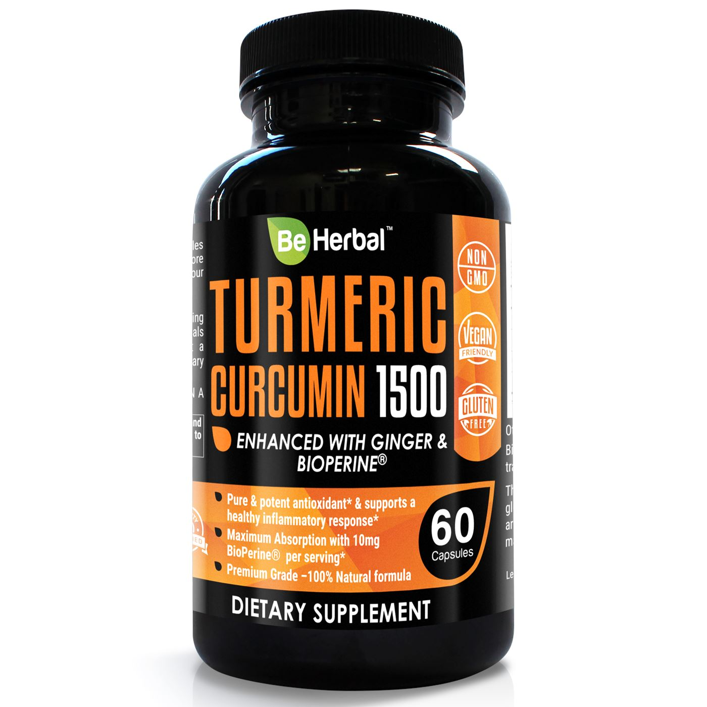 Premium Organic Turmeric Curcumin with BioPerine - 1500mg - 60 Veg Capsules Herbal Supplements Be Herbal