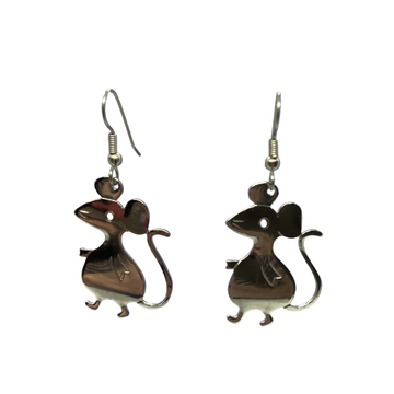 Vintage Silver Mouse Stamping Earrings