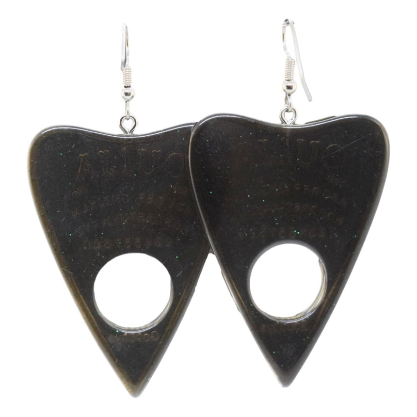 Glitter Gold Black Green Ouija Planchette Earrings