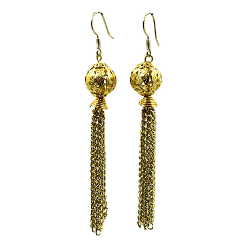 Vintage Brass Orb Tassel Earrings
